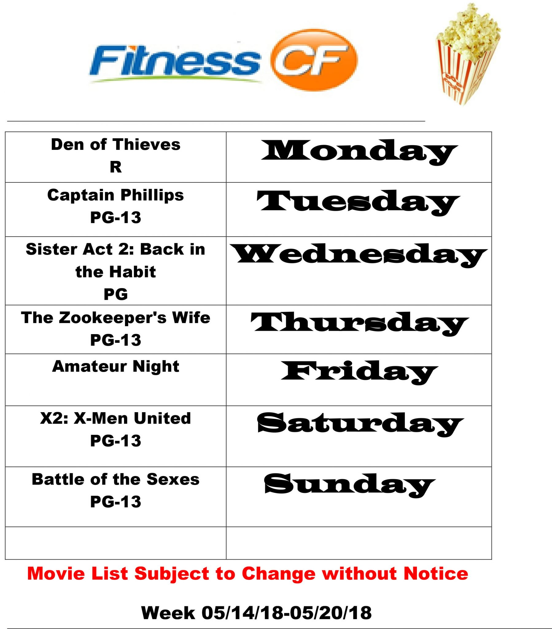 Movie Schedule: 5/14-5/20/18