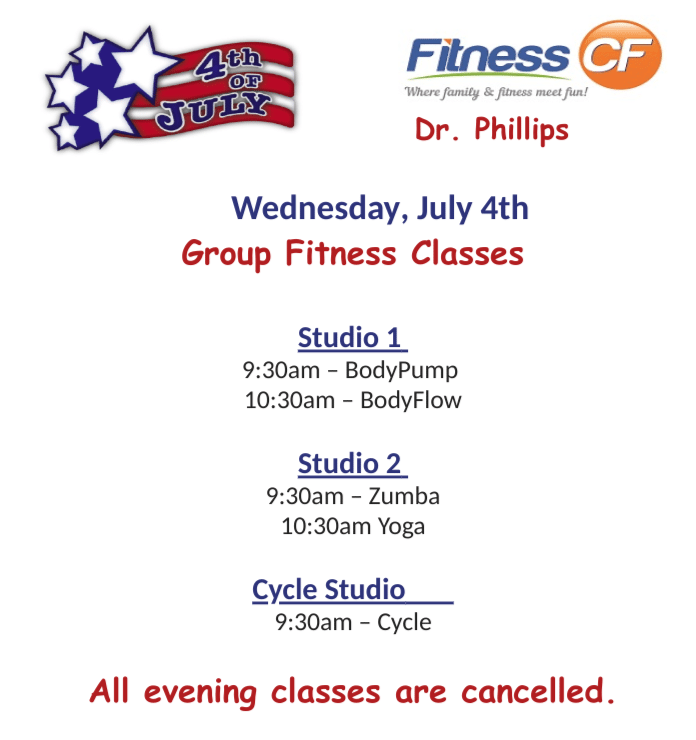 4th of July Schedule at Fitness CF Orlando